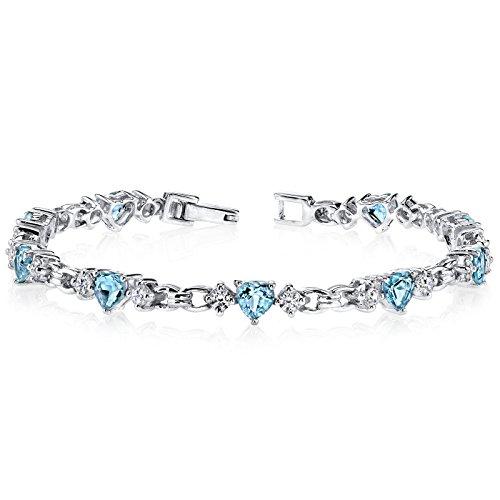 - Swiss Blue Topaz Bracelet Sterling Silver Heart Shape 4.50 Carats