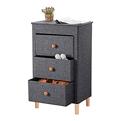 Kamiler Nightstand with 3 Drawers, Dresser Storage, End Table, Bedside Table, Storage Organizer Tower Unit for Bedroom,College Dorm,Hallway,Entryway,Closets - Versatile Drawer Storage: Kamiler nightstand storage features 3 removable drawers, it is perfect to be used as a nightstand, end table, storage organizer unit, bedside table or drawer chest, office supply storage, keeping your alarm clock, journals, glasses at hand or clutters, bits and pieces under control. Practical and Movable: Lightweight with high weight capacity of 120lbs, you can move it conveniently from room to room; Easy to assemble and disassemble, no worries when changing your house or apartment. Attention to Details: Elegant round handle on drawers for opening more easily; Premium linen fabric makes this storage unit top-grade; the wooden feet ensure that the bedside table is more sturdy; The wide top provides extra space for putting cups, plants, clocks etc. - nightstands, bedroom-furniture, bedroom - 410U191V5VL. SS400  -