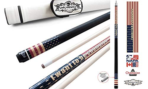 Champion Gator GA1 Pool Cue Stick with Low Deflection Shaft, Pool Glove, Same As Predator 314 Taper, Retail Price: MSRP $160 (12.75 mm, 21 oz, White Case)