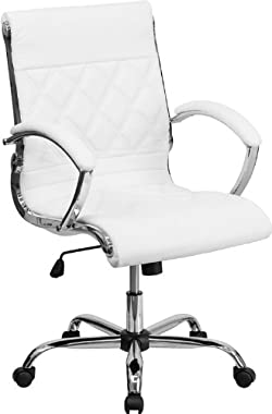 Flash Furniture Mid-Back Designer White Leather Executive Office Chair