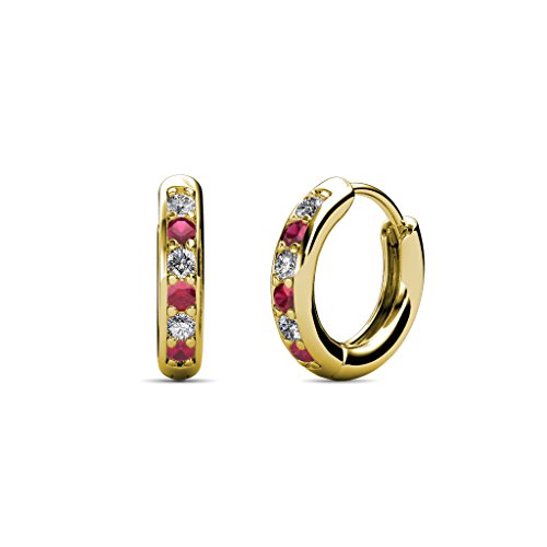 Petite Ruby and Diamond (SI2-I1, G-H) Huggies Hoop Earrings 0.25 Carat tw in 14K Yellow (0.25 Ct Tw Hoop)