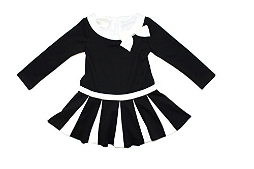 - Biscotti Girl's Long Sleeve Drop Waist Ivory Black Dress With Pleated Skirt (Ivory/Black, Small (4T/4))