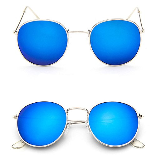 Men Women's Round Sunglasses Vintage Retro Oversized Mirror Glasses - Sunglasses Hong Brand Kong