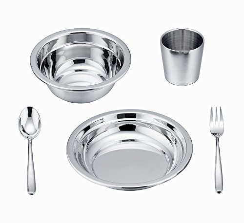 LIANYU 5-Piece Toddler Kids Dinnerware Set, Stainless Steel Childrens Dinnerware Include Plate/Bowl/Cup/Spoon/Fork, Eco Friendly & BPA Free - Dishwasher Safe