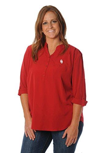 Ncaa Oklahoma Sooners Womens Plus Size Button Down Tunic  1X  Crimson