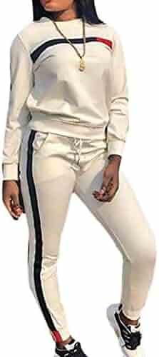 808e08670a WSPLYSPJY Women s Sweatsuit Jogging Stripe Pants Tops 2-Piece Sets Crewneck  Tracksuits