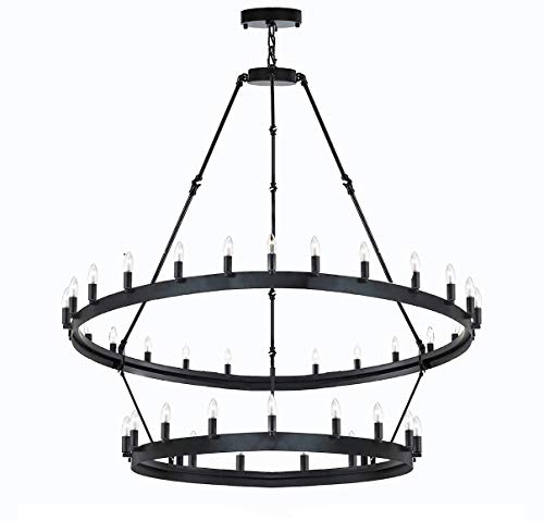 Wrought Iron Vintage Barn Metal Castile Two Tier Chandelier Chandeliers Industrial Loft Rustic Lighting W 38