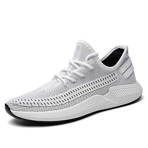 Kvovzo Mens Walking Athletic Shoes Comfort Casual Sneaker Trail Running Shoe for Men Tennis Baseball Racquetball Cycling(1078white/gray45)