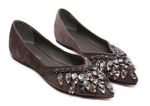 Aisun Brun Chaussures Strass Plates Simple Pointues Femme Ballerines ZUZ8qHw6x