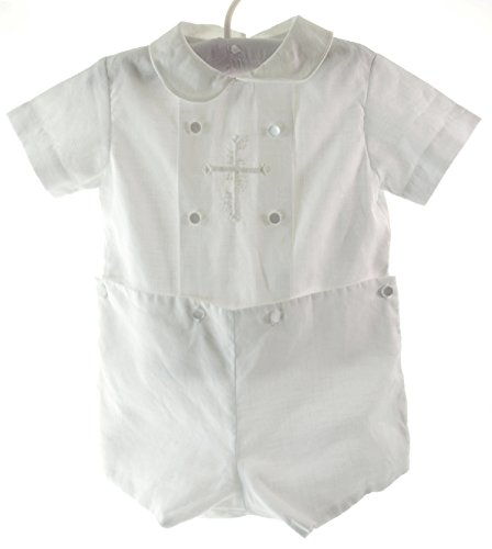 0M-36M Unotux Baby Boy Christening Baptism White Shorts Cross Vest Set