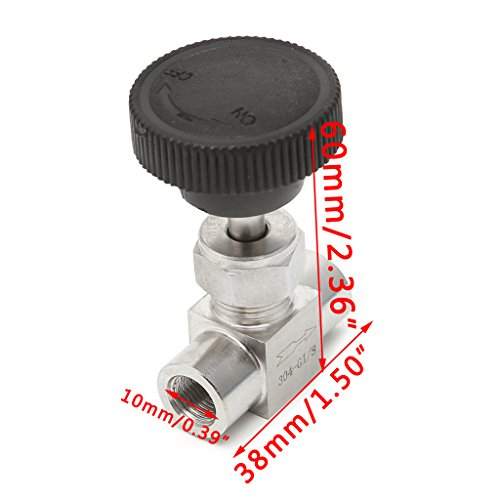 HittecH Needle Valve Female Thread 304 Stainless Steel Flow Control Shut Off 915 PSI 1/2''/1/4''/1/8''/3/8'' BSP FxF NPT (1/8'') by HittecH