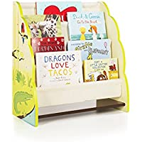 Guidecraft Hand-painted Jungle Party Book Display - Thematic Children Wooden Bookcase, Sling Bookshelf, Kids Book Rack Storage
