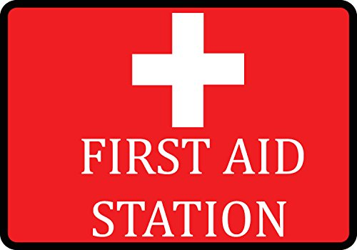 First Aid Station Sign (Red First Aid Station Large Injury Medical Warning Signs - Plastic 2 Pack, 12x18)