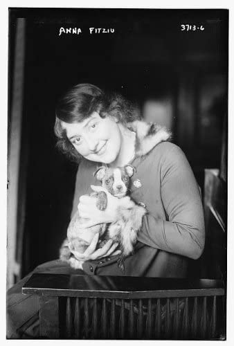 Historic Photographs, LLC Photo: Anna Fitziu with pet,Puppy,1887-1967,American Soprano,Opera Singer 1