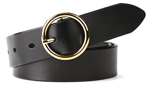WERFORU Women Casual Dress Belt Genuine Leather Belt with Round Golden Buckle Detailed Leather Belt