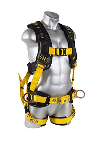 Guardian Fall Protection 193121 Construction Premium Edge Harness with Quick Connect Chest Buckle, Waist Tounge Buckle and Leg Tounge Buckles, M-XL (Construction Guardian Harness)
