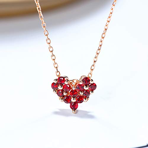 Unique 18-k rose gold natural ruby necklace collarbone chain dual-use heart-shaped four-leaf clover pendant birthday gift present necklace for women