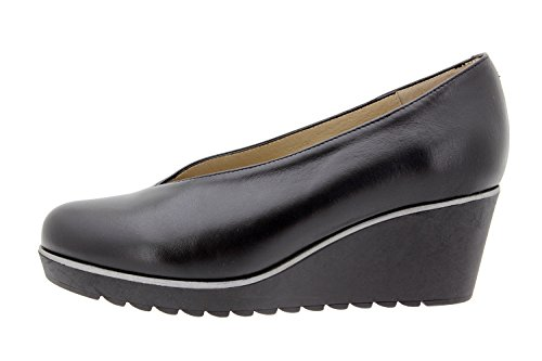Scarpa In Pelle Da Donna Piesanto Comfort 9778 Pompa Scarpe Comoda Ampia Negro