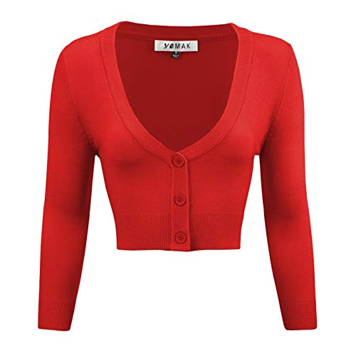 Women's Cropped 3/4 Sleeves Cardigan Sweater Vintage Inspired Pinup CO129-TMT-S ()