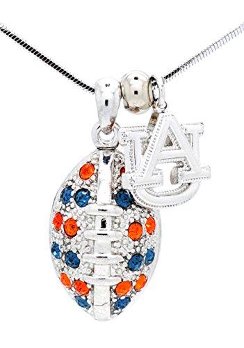 Auburn University Football Necklace - Large - Navy and Orange Crystal - TIGERS ()