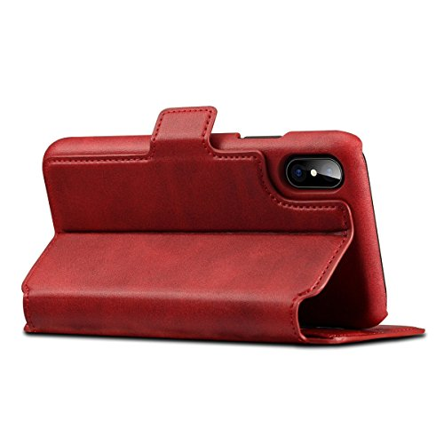 Scheam iPhone X Flip Cover, Case, Skins Card Slot [Stand Feature] Leather Wallet Case Vintage Book Style Magnetic Protective Cover Holder for iPhone X - Red by Scheam (Image #2)