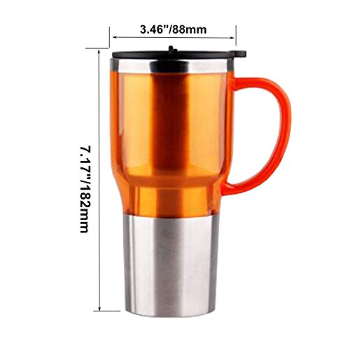 979b946ecea Car Electric Kettle, Heated Travel Mug, Vacuum Insulated Stainless  Steel,12V Adapter,16 Ounce (Orange)