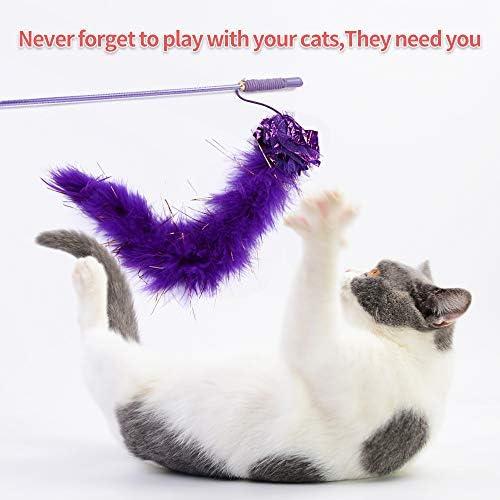 30 Piezas Set de Juguetes para Gatos Variedad Catnip Toy Set Kitten Toys Surtidos que incluyen Tunel Gato Pelota Gato Cat Teaser Mice Wand Feather Toys Cat Balls Jingle Bell Interactive Juguete gato Set para Gato 5