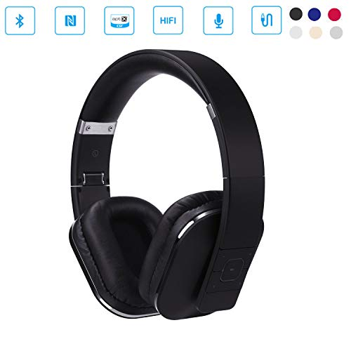 August EP650 Bluetooth Wireless Over Ear Headphones with Multipoint/NFC / 3.5mm Audio In/Headset Microphone - Black by August