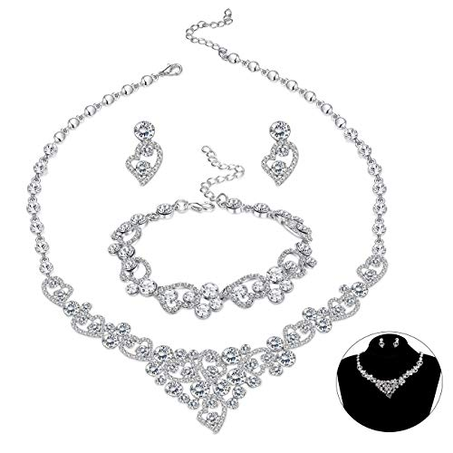 (LOYALLOOK Silver-Tone Crystal Heart Bridal Bridesmaid Rhinestone Necklace Set Bracelet Dangle Earrings Wedding Prom Jewelry Sets)
