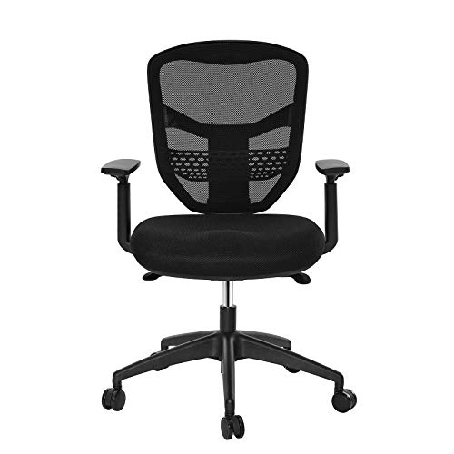 SONGMICS Mesh Office Chair, Armrests and Backrest Height Adjustable, Swivel Computer Chair, with Lumbar Support, Back Reclining and Tilt Lock Function, for Home and Office, Black (Office Star Quick Assembly)