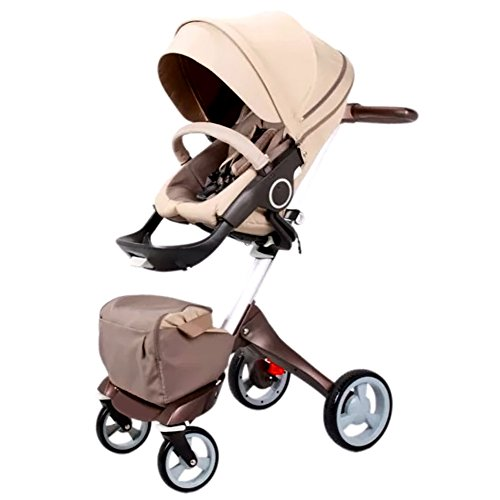 Binglinghua 2 in 1 Newborn Baby Stroller for Infant and Toddler Damping Vibration Convertible Baby Carriage Luxury High View Anti-shock Infant Pram Stroller Rubber Wheels (Khaki) by Binglinghua®