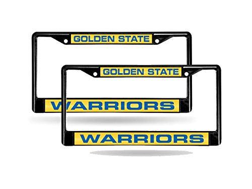 Rico Golden State Warriors NBA Black Metal (2) Laser License Plate Frame Set by Rico