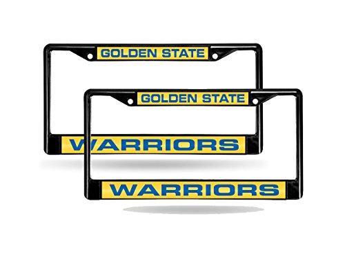 Rico Golden State Warriors NBA Black Metal (2) Laser License Plate Frame Set