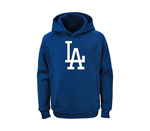Team Logo Baseball - Outerstuff MLB Youth Team Color Performance Primary Logo Pullover Sweatshirt Hoodie (Medium 10/12, Los Angeles Dodgers)
