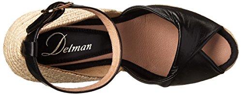 Delman Womens Femme Espadrille Sandal Black Nappa