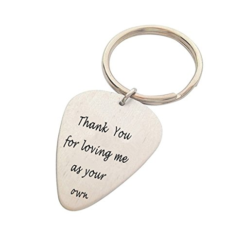 Father's Day Gifts Guitar Pick KeyChain Thank You For Loving Me As Your Own Stepdad Gift stepmom gift