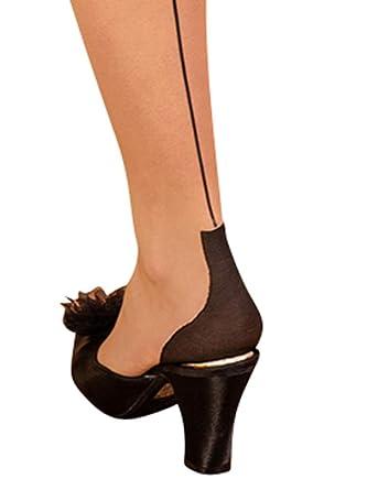 0f0ec0cbd3e What Katie Did Cuban Heel Glamour Seamed Stockings Champagne Black (Medium  Large (5ft