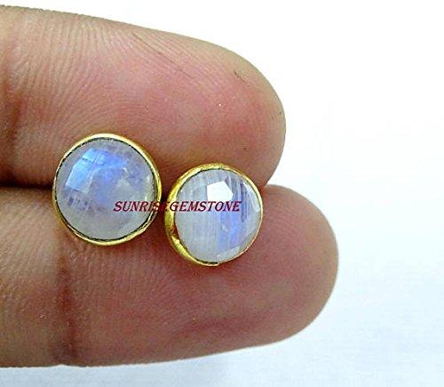 Natural Rainbow Moonstone Faceted Round 8-9 mm Bezel Stud Earrings 24k Gold Plated Handmade Jewellery BOHEMIAN 1 Pair. ()