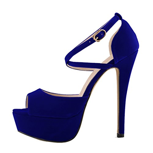 Shoes Peep Stiletto sandals blue velveteen Slip inch Heels 5 On High 5 Women's Fashion Toe Sandal Platform 1qUn56