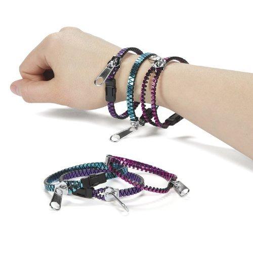 Metal Metallic Zipper Bracelets (1 dz)