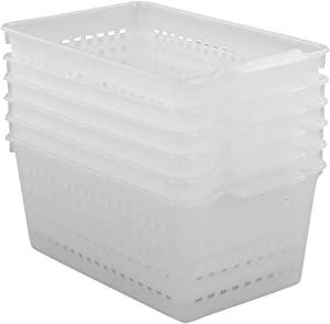 Qsbon Plastic Clear Storage Basket, Rectangle, Pack of 6