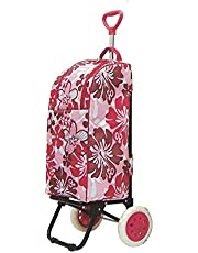 Thermo Cooler Shopping Cart/Trolley Bag Carry Foldable/Insulated Basket - Red