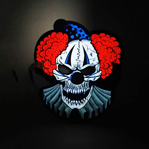Hagienu EL Light LED Mask Halloween Masks Music Voice Control Up Scary Mask, Makeup Mask Cosplay Led Clown Costume Skull Mask Adults Teens -