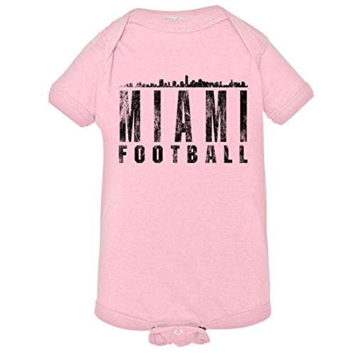 PleaseMeTees Baby Miami Football Skyline Sports Distressed HQ Jumpsuit-Pink-24M
