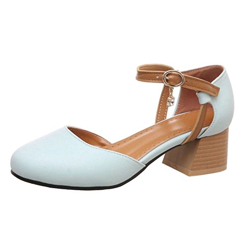 SJJH Casual Sandals with Rounded Toe and Chunky Heels Comfortable Shoes with 5-Colors Light Blue sHlZctk