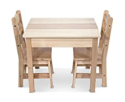 Melissa & Doug Wooden Table and 2 Chairs Set with Tip-resistant Design