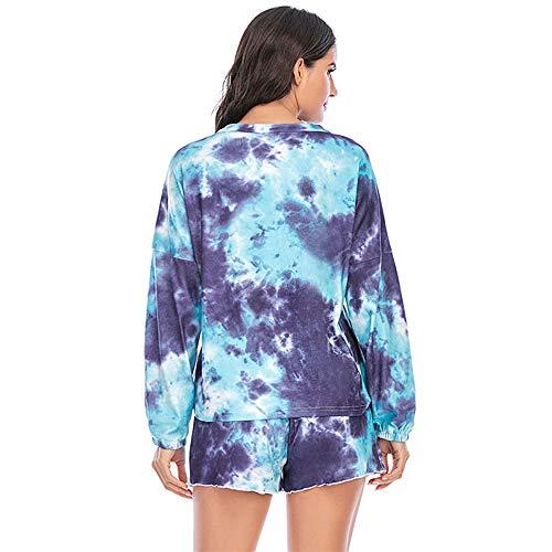 Women's Christmas Pajamas Sleepwears 2pcs Long Sleeves Pjs Nightwear Tops + Pants Sets for Auttumn Size 2XL 12 14 Thanksgiving Gifts Blue