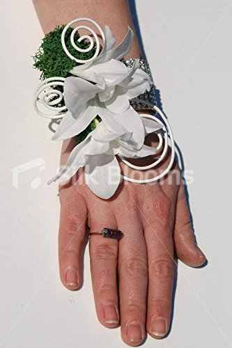 - White Cymbidium Orchid Artificial Wedding Wrist Corsage w/ Wire