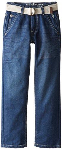 U.S. Polo Assn. Big Boys' 5 Pocket Belted Jeans, Medium Safety Blue, (Belted Five Pocket Jeans)