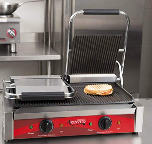 Avantco P84 Double Commercial Panini Sandwich Grill with Grooved Plates - 18 3/16